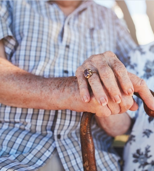 elderly couple's hands