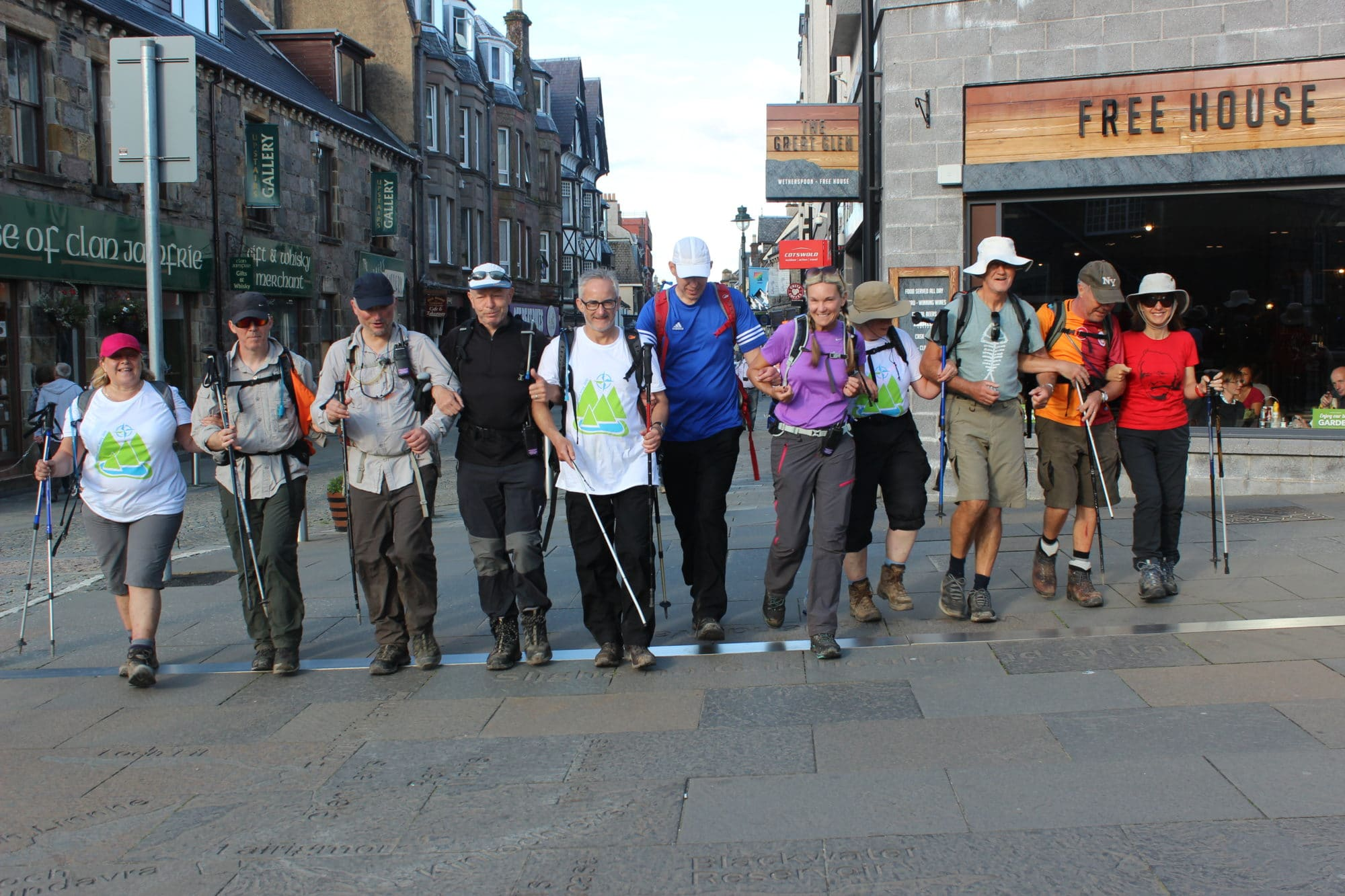 Group of people in walking gear