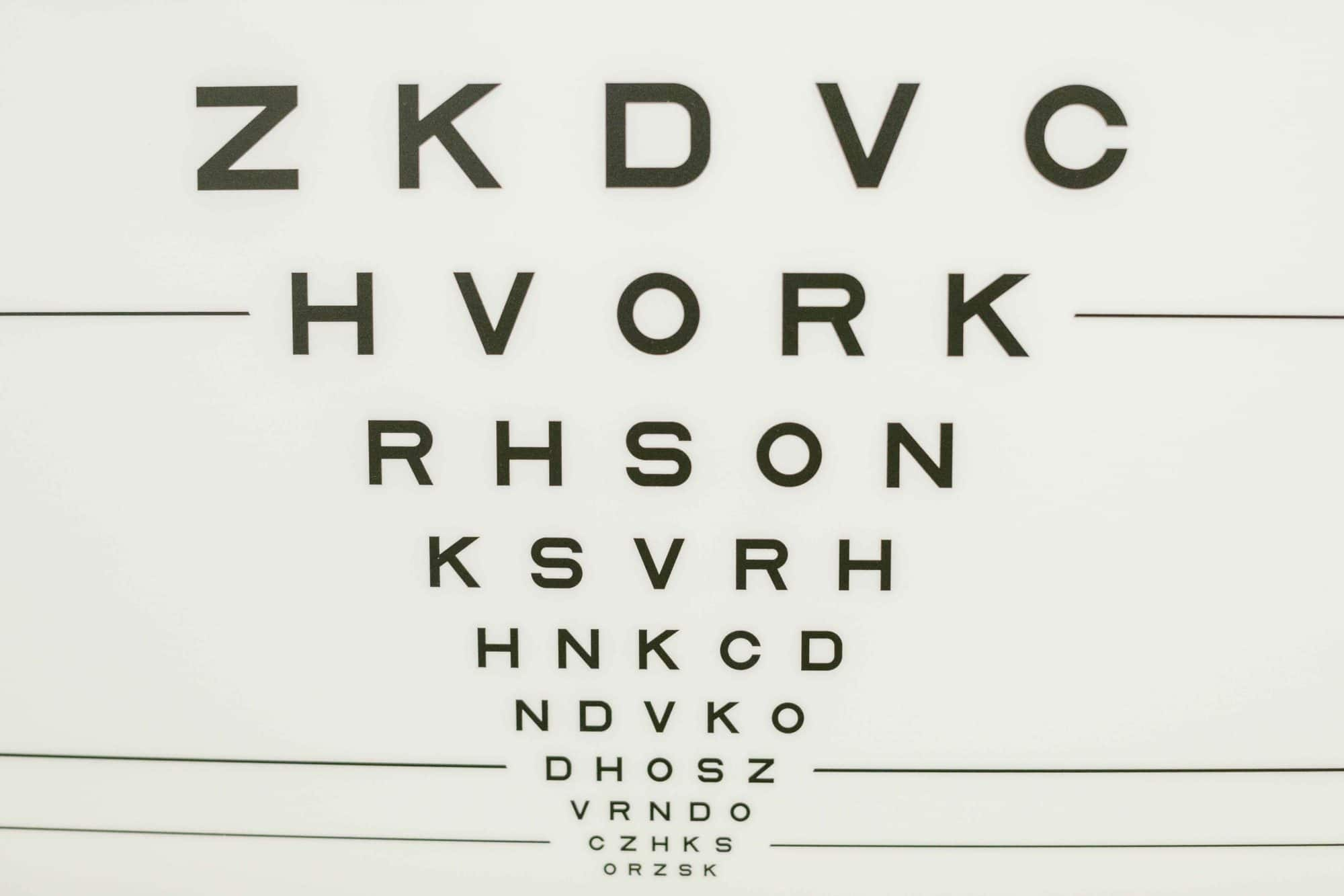 eye chart on wall