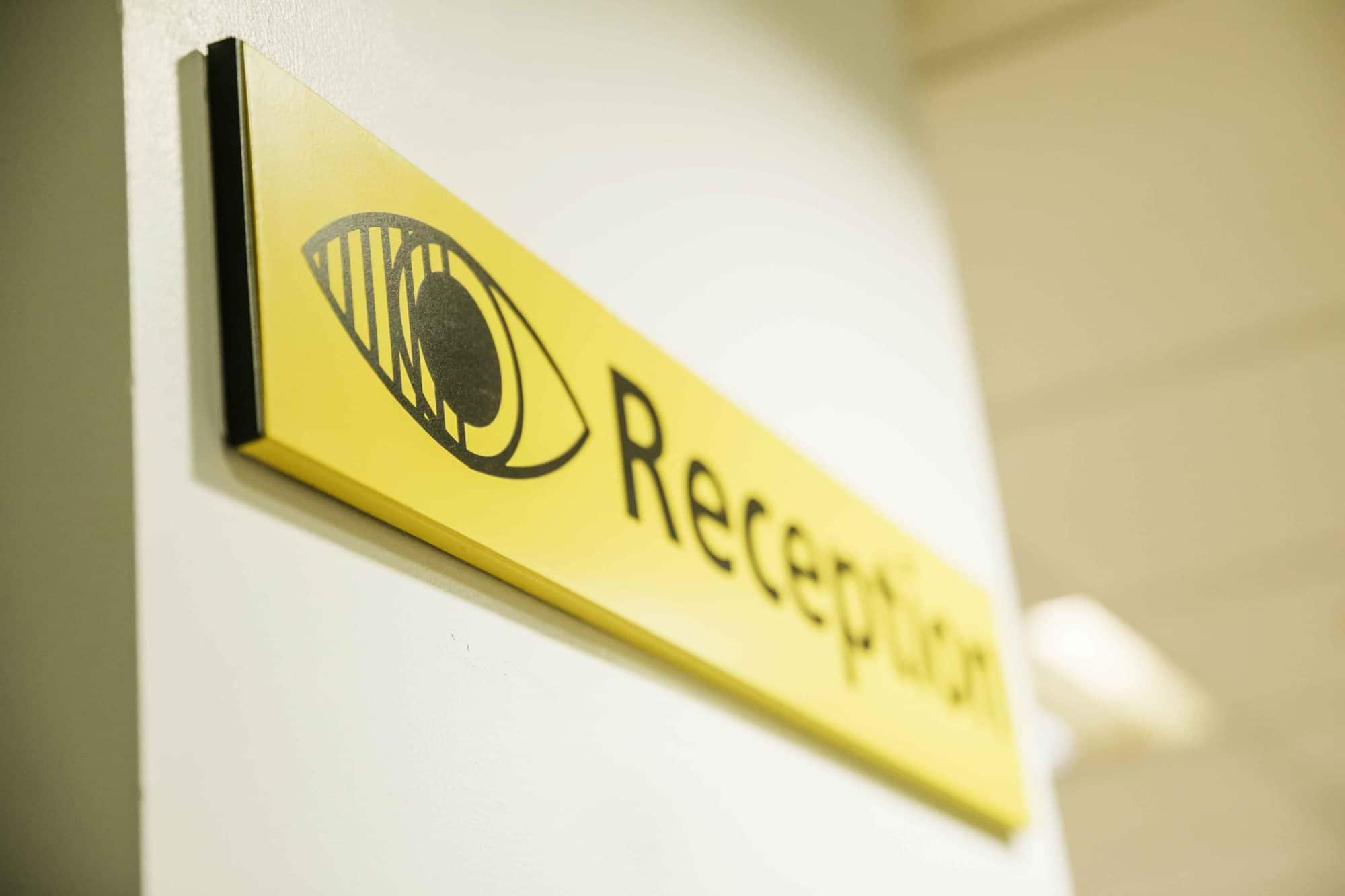eye clinic reception sign