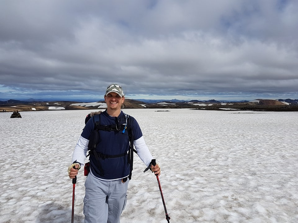 Mark Baxter trekking in snow