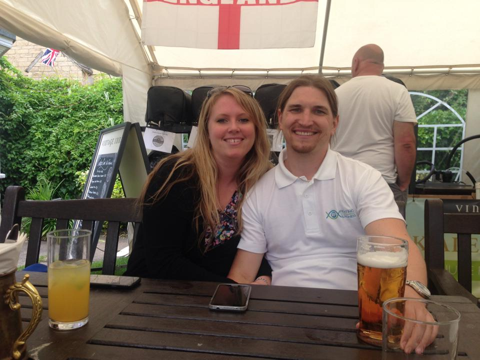 Mark Baxter and his wife in pub garden