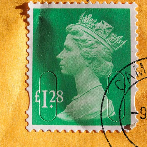 Stamp affixed to envelope