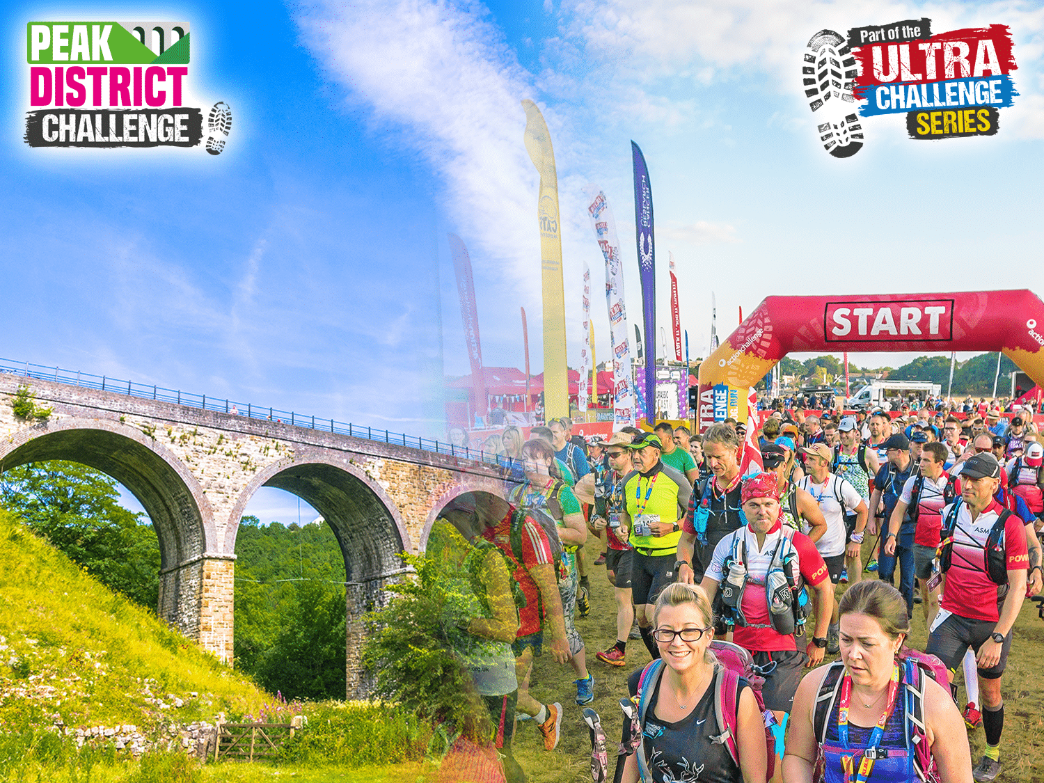 Image shows crowds at the start line with Derbyshire countryside
