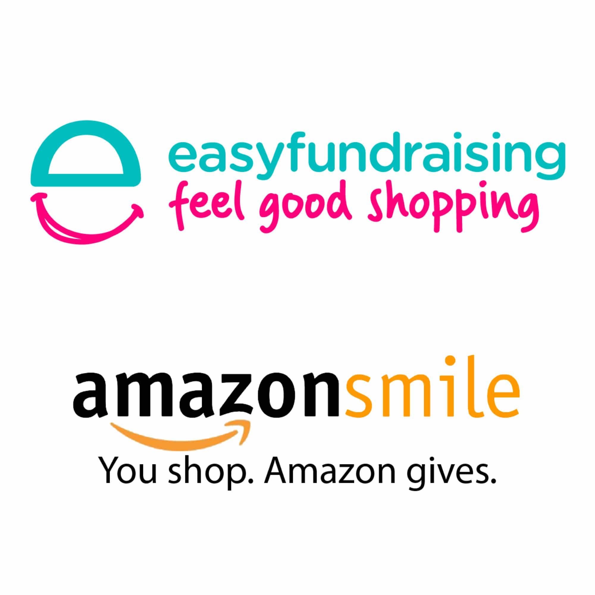 Image shows the 'easy fundraising - feel good shopping' and 'amazonsmile - You Shop. Amazon Gives' logos