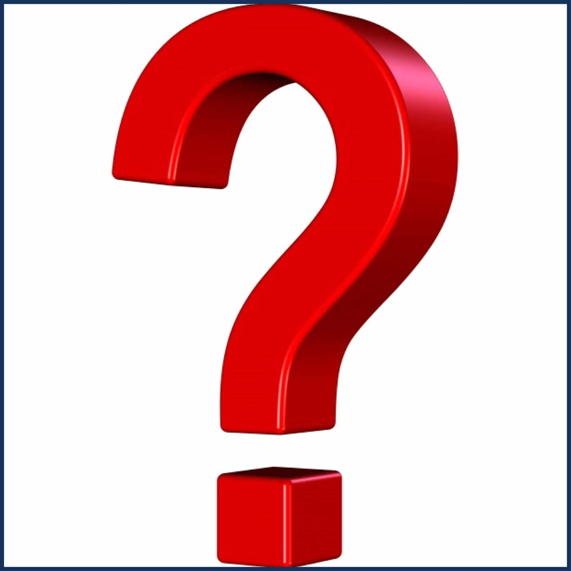 Image shows a red question mark