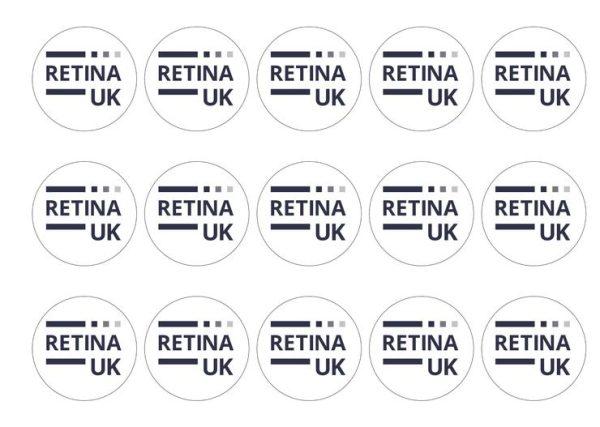 A sheet of Retina UK cupcake toppers