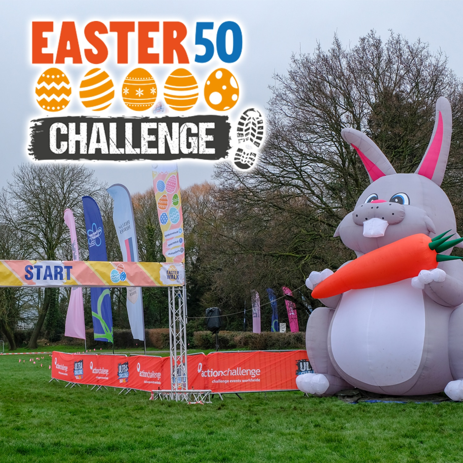 Images shows the Easter 50 Challenge logo with a photo of the start line with a giant inflatable rabbit