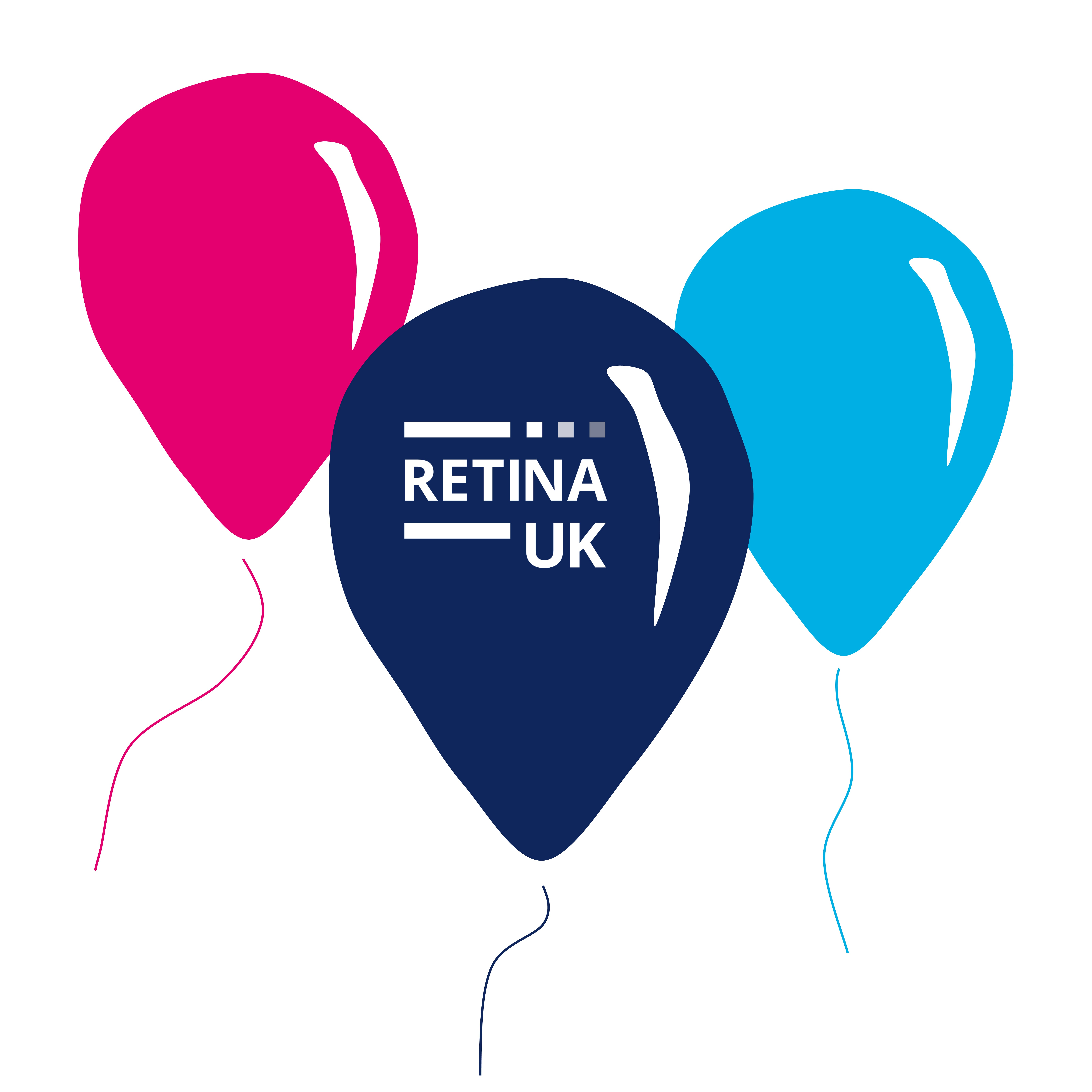 Image shows a pink, a dark blue and a light blue cartoon birthday balloons. The dark blue balloon has the Retina UK logo shown in white.