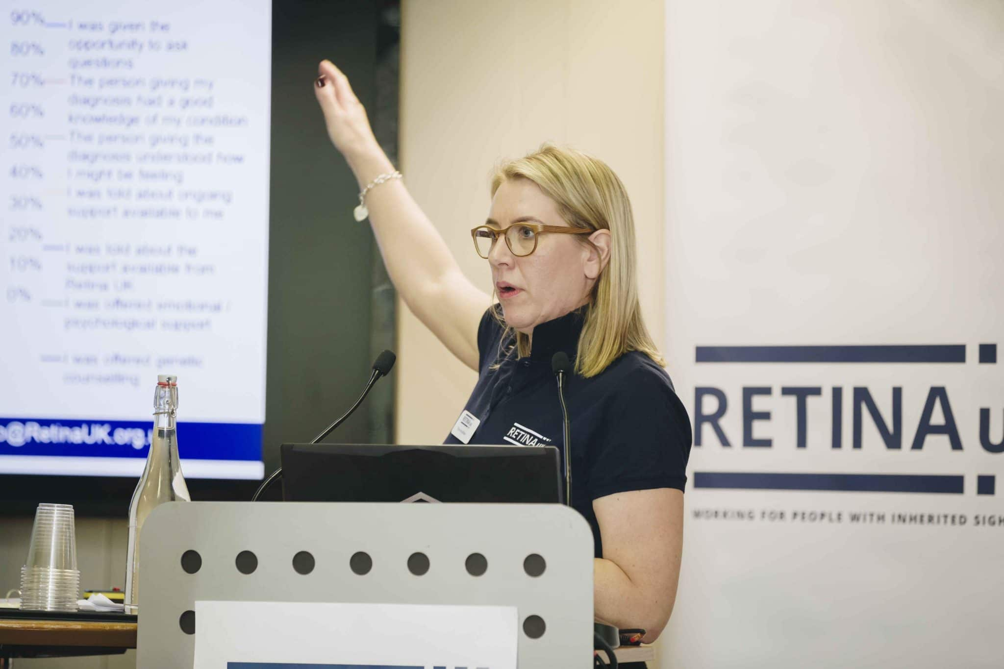 Tina Houlihan speaking at the Retina UK Professionals' Conference 2019